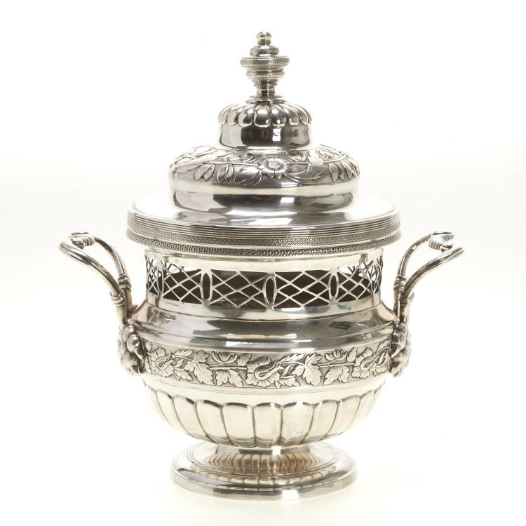 French Empire silver potpourri urn