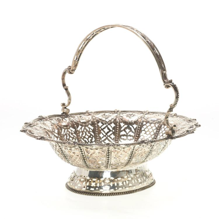 Victorian silver reticulated cake basket