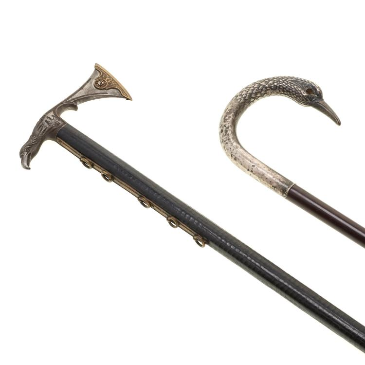 Continental bird and axe handled walking sticks