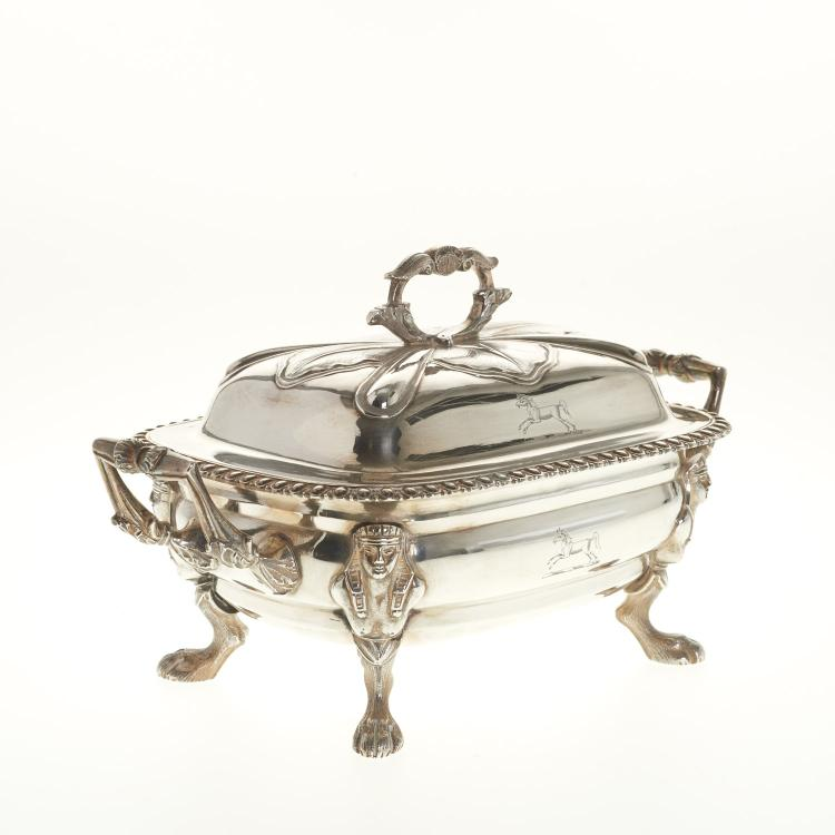 George III Egyptian Revival sterling sugar box