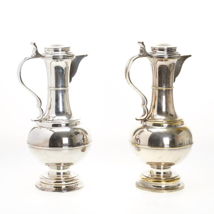 Pair monumental Sheffield silver plated ewers