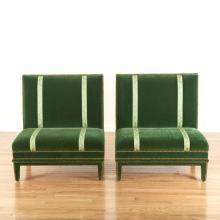 Pair Renzo Mongiardino style velvet sofas