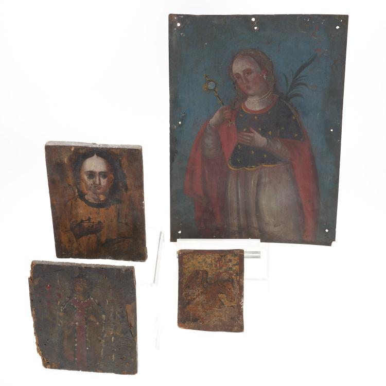 (4) Spanish colonial metal and wood retablos