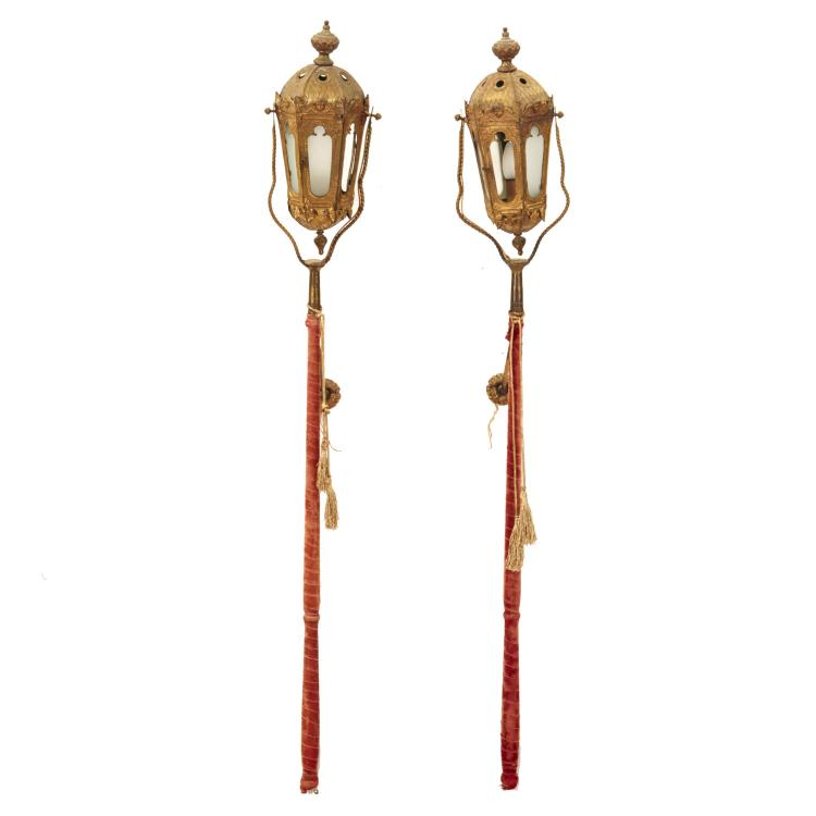 Pair Venetian gilt metal gondola pole lanterns