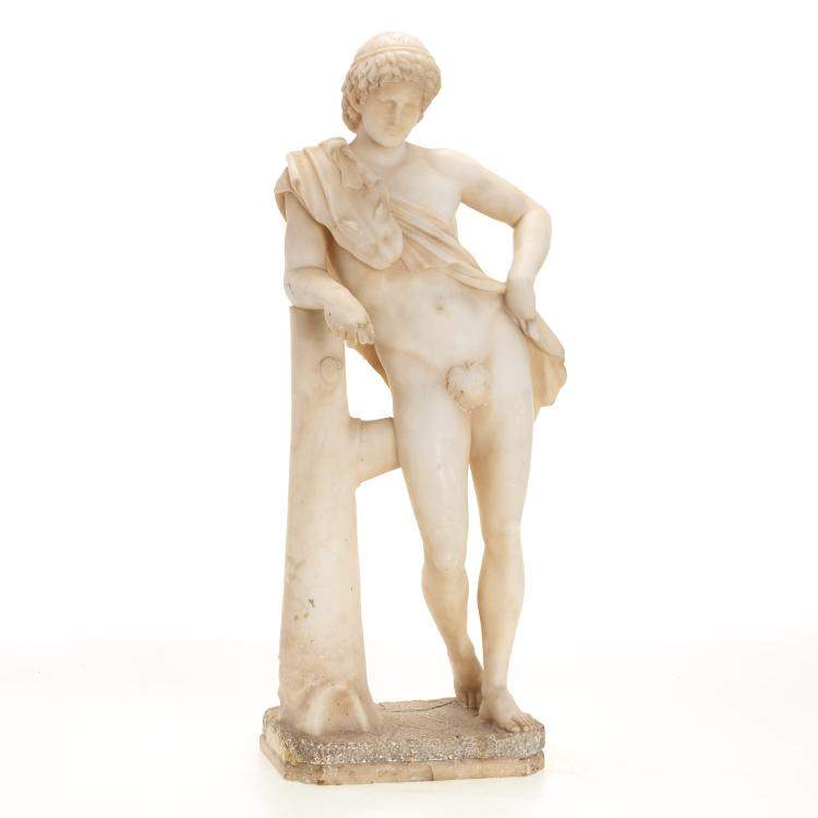 Italian Grand Tour marble figure of male nude
