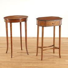 (2) Regency inlaid satinwood sewing stands