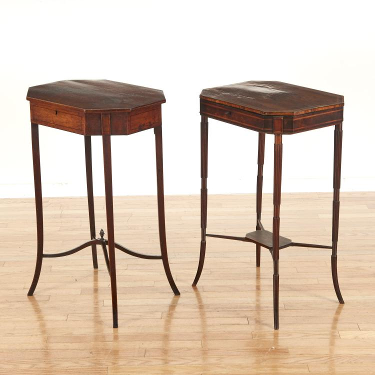 (2) George III mahogany sewing stands