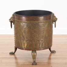 Anglo-Dutch brass and copper peat/kindling bucket