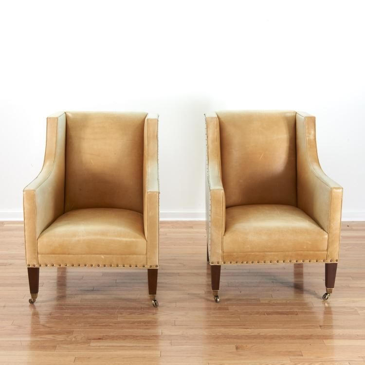 Pair French Moderne style leather club chairs