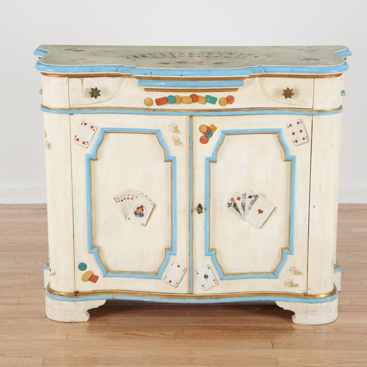 Victorian style trompe l—eil cabinet