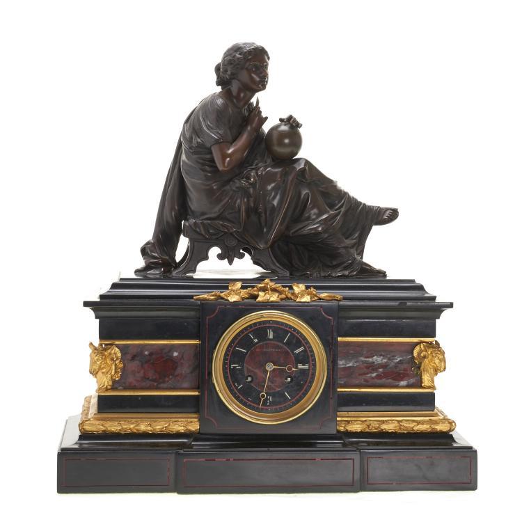 J.E. Caldwell gilt bronze, marble figural clock