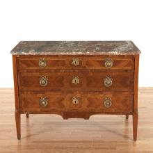 Louis XVI marble top parquetry commode