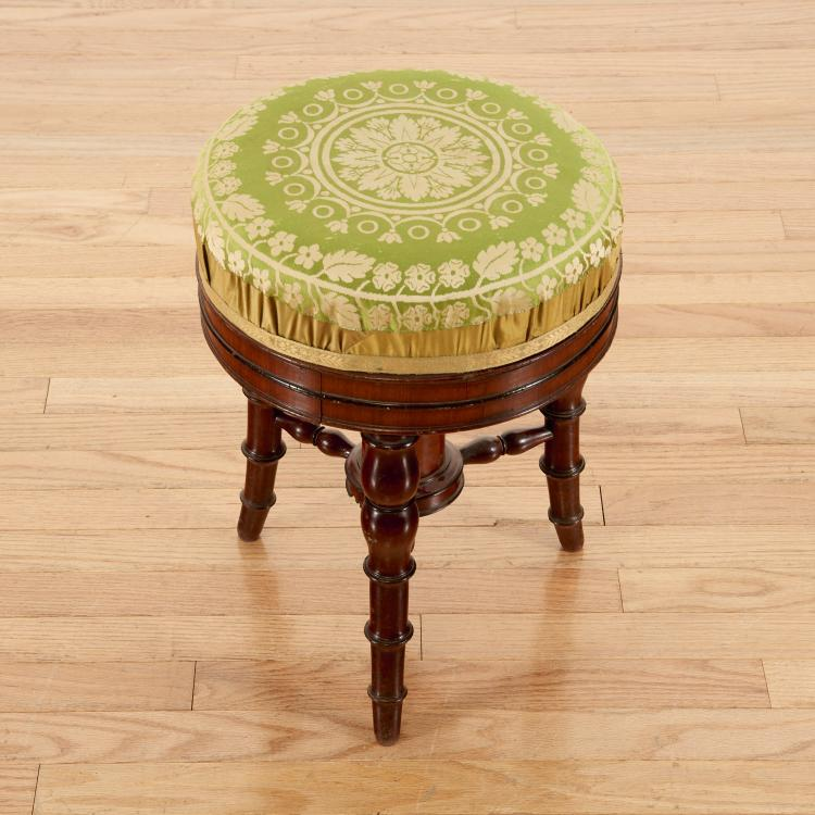 Louis Philippe mahogany bamboo-turned stool