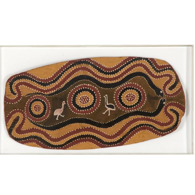 Aborigine style tribal polychrome wood shield