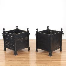 Pair Versaille iron and wood planter boxes