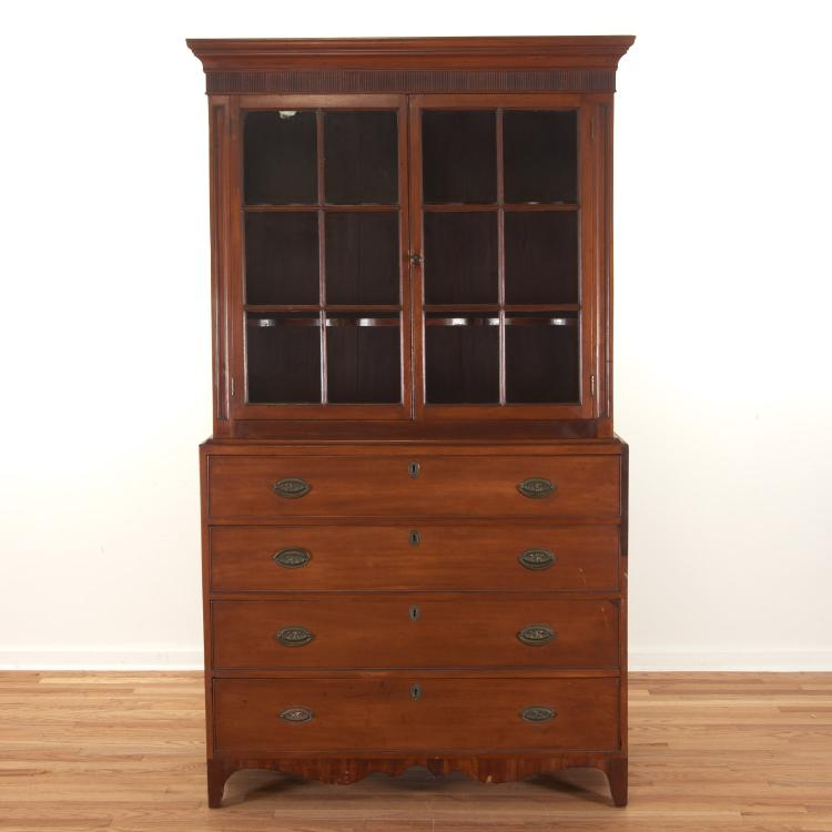American Federal cherrywood bookcase cabinet