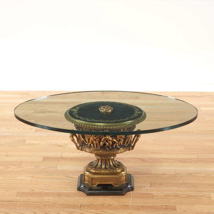 Neo-Classical style gilt metal, glass coffee table