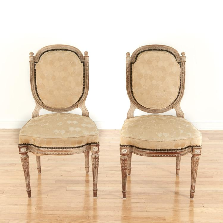 Pair Directoire style limed wood side chairs