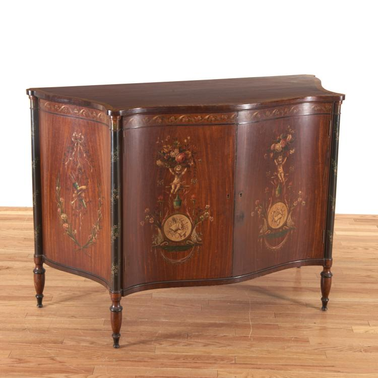 Edwardian paint decorated serpentine cabinet
