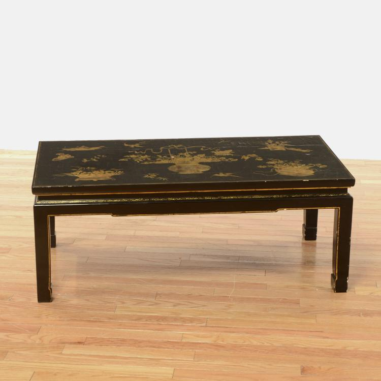Black japanned gilt lacquer low table