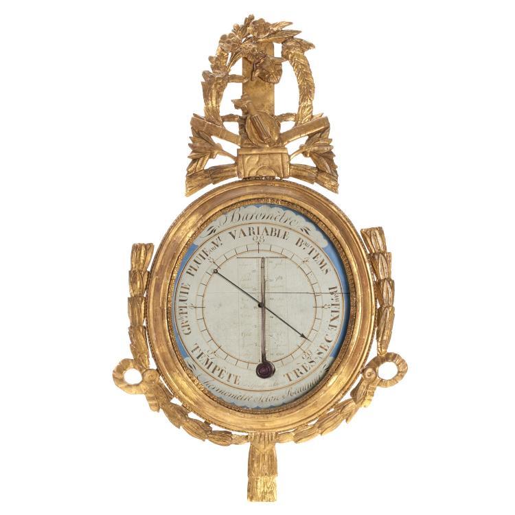 Louis XV carved giltwood reaumur barometer
