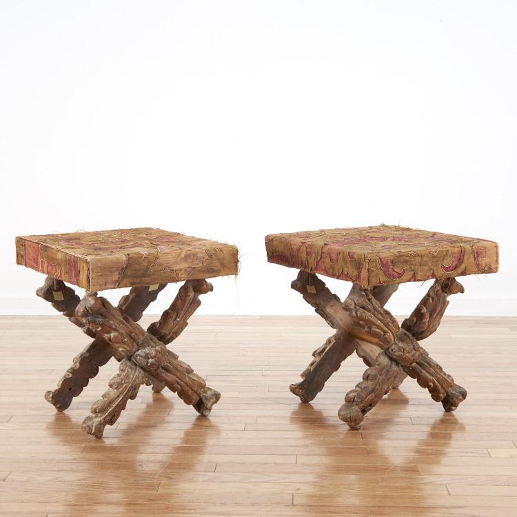 Pair Italian Baroque giltwood ployant stools