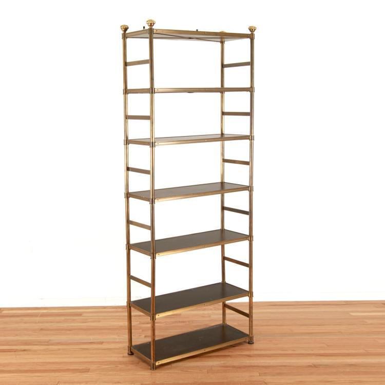 Attr. Maison Jansen brass, ebonized wood etagere