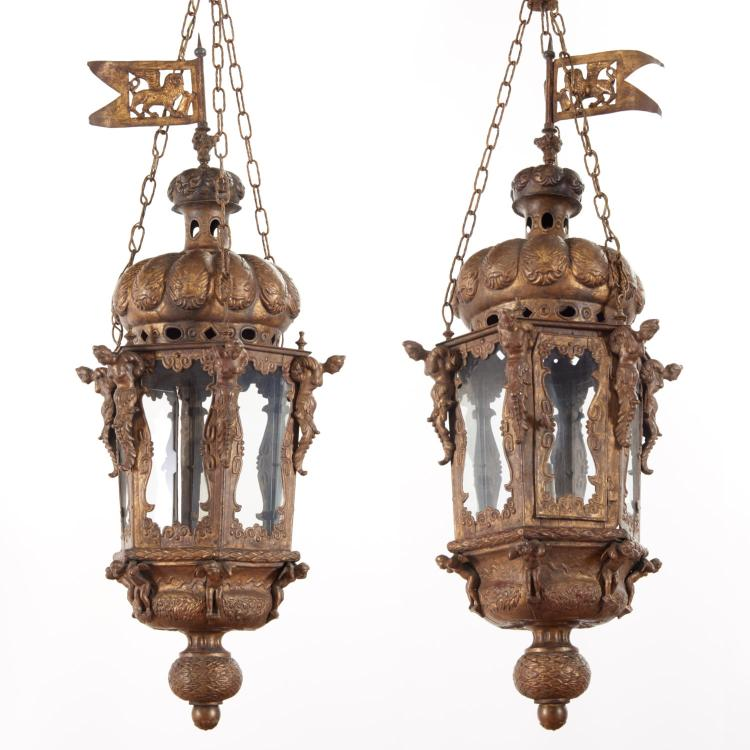 Large antique Venetian gilt metal hall lanterns
