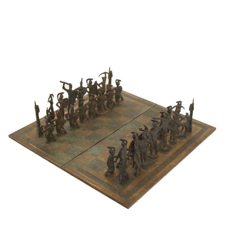 Nice large scale Brutalist bronze chess set