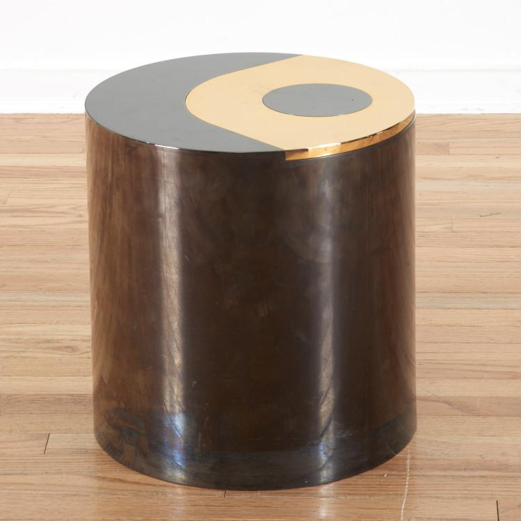Karl Springer gunmetal, brass occasional table