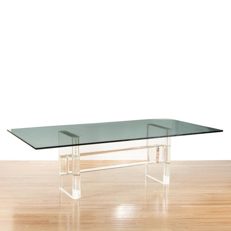 Karl Springer glass and Lucite dining table