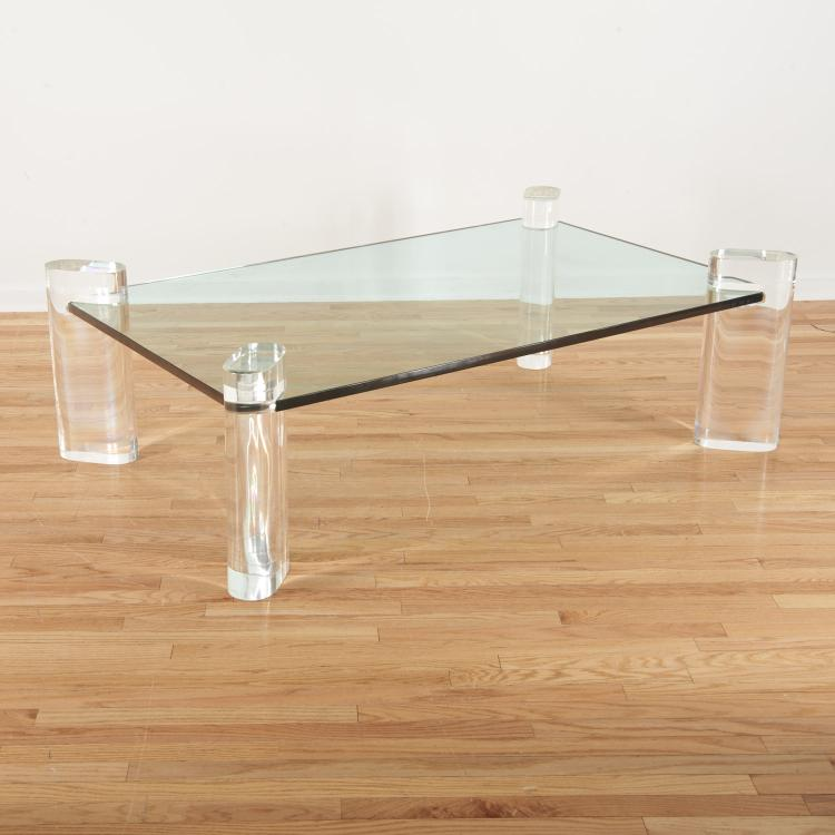 Signed Karl Springer glass, Lucite coffee table