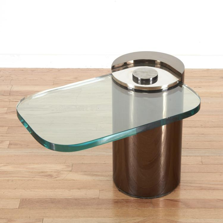 Karl Springer cantilever chrome, glass side table
