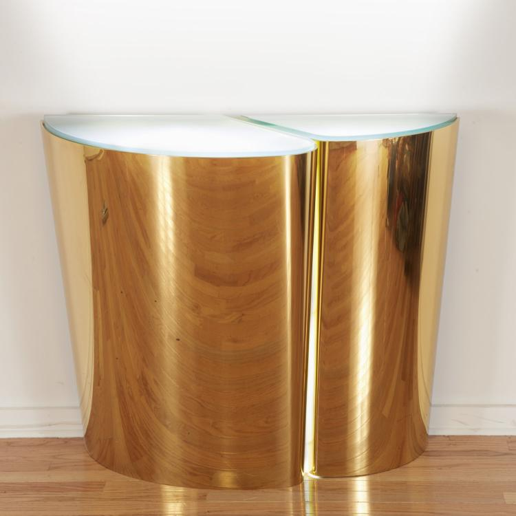 Karl Springer custom illuminated brass console
