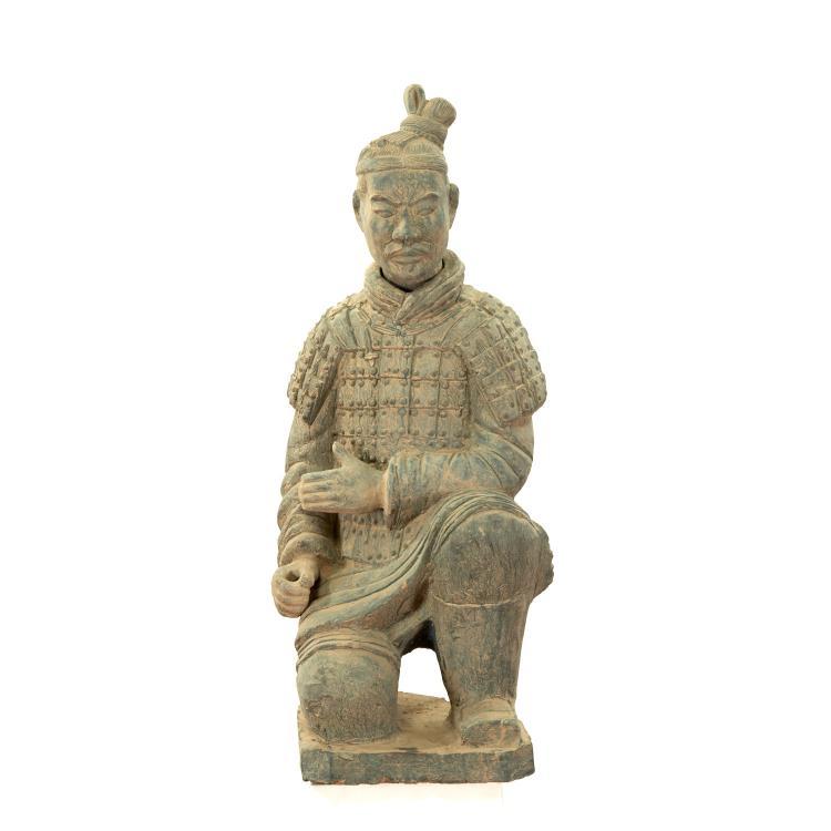 Near life-size Xian style terra-cotta warrior