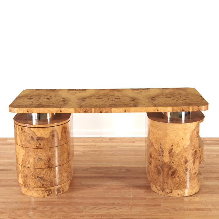 Designer chrome and burl wood pedestal desk