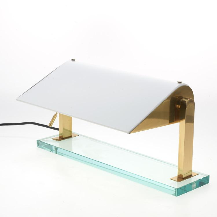 Karl Springer glass, brass desk lamp