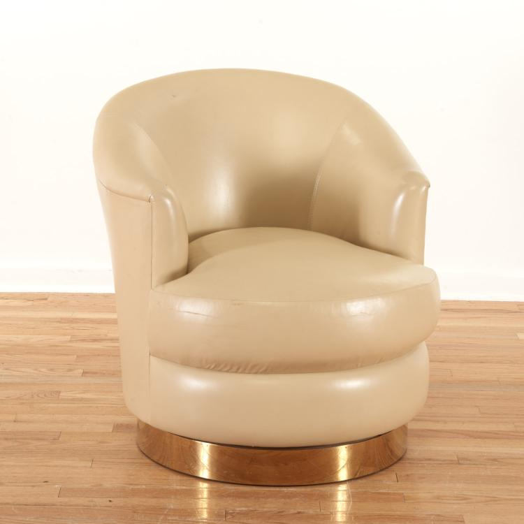 Karl Springer leather and brass swivel tub chair