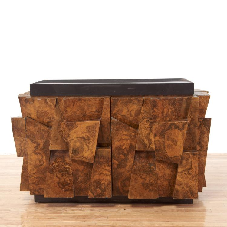 Paul Evans faceted burl wood cabinet