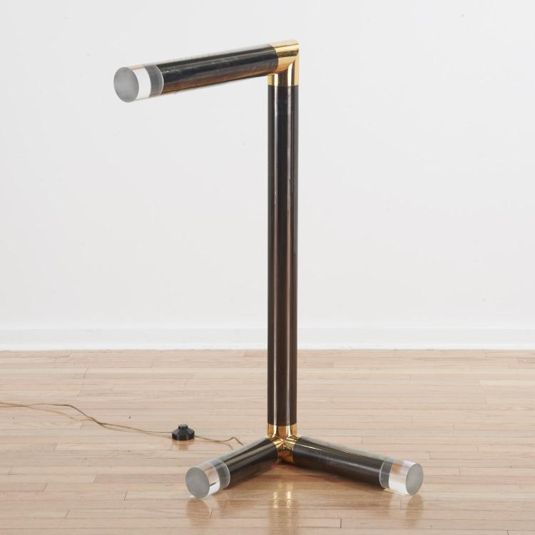 Karl Springer Lucite, brass, gunmetal floor lamp