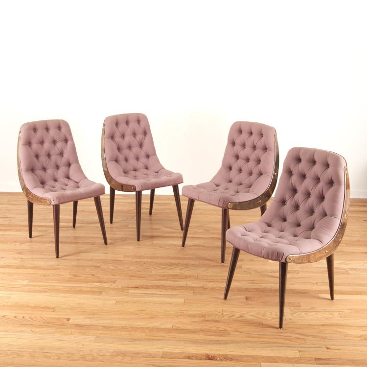 Set (4) Aldo Tura button tufted dining chairs