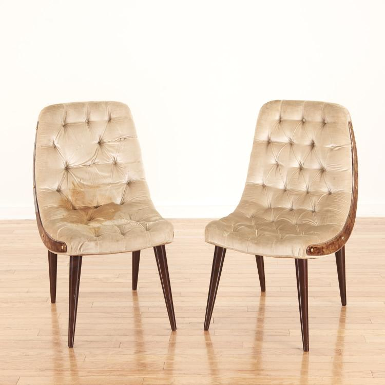 Pair Aldo Tura button tufted velvet dining chairs
