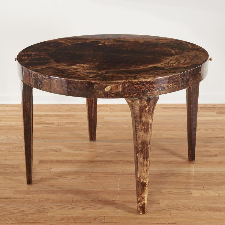 Aldo Tura lacquered brown goatskin bridge table