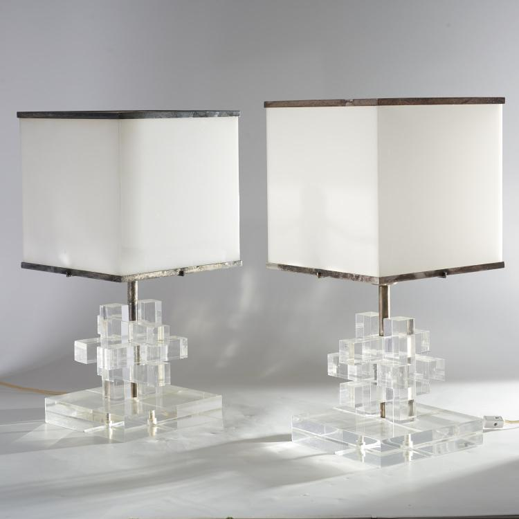 Pr Karl Springer acrylic and silver plate lamps