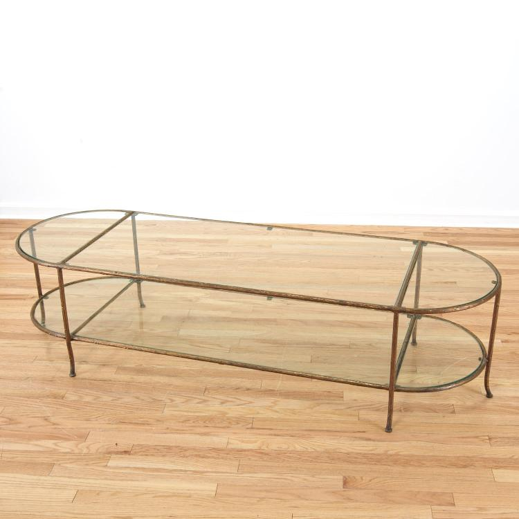 Maison Bagues style gilt bronze,glass coffee table