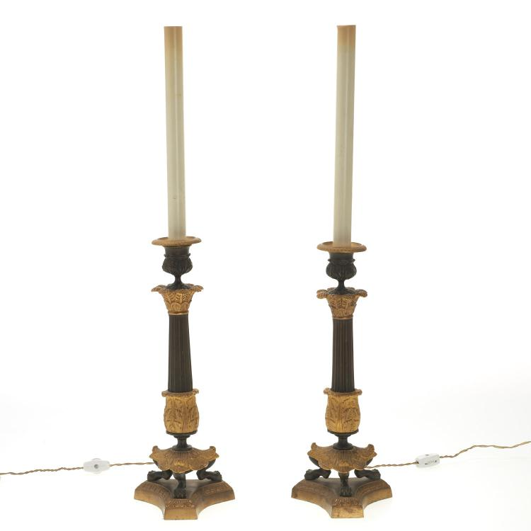 Pair French Empire style gilt bronze candlesticks