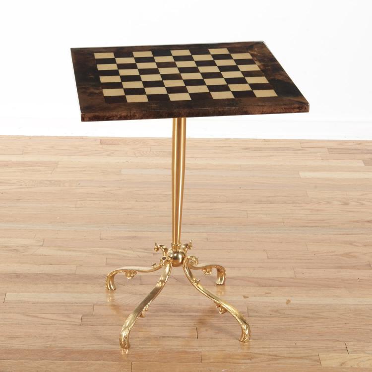 Aldo Tura lacquered goatskin games table