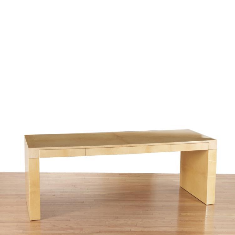 Aldo Tura lacquered natural parchment desk