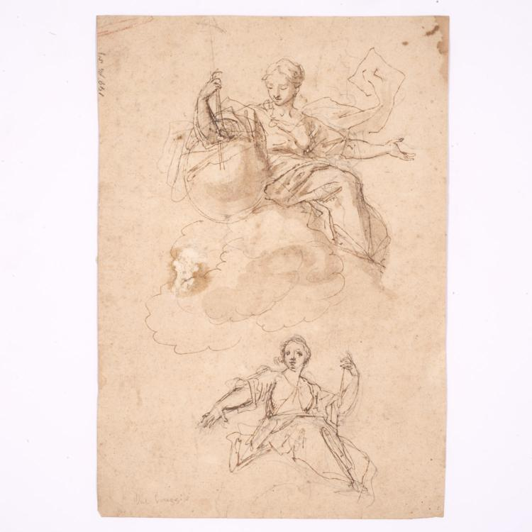 Attr. Antonio Da Correggio, 2-sided study drawing