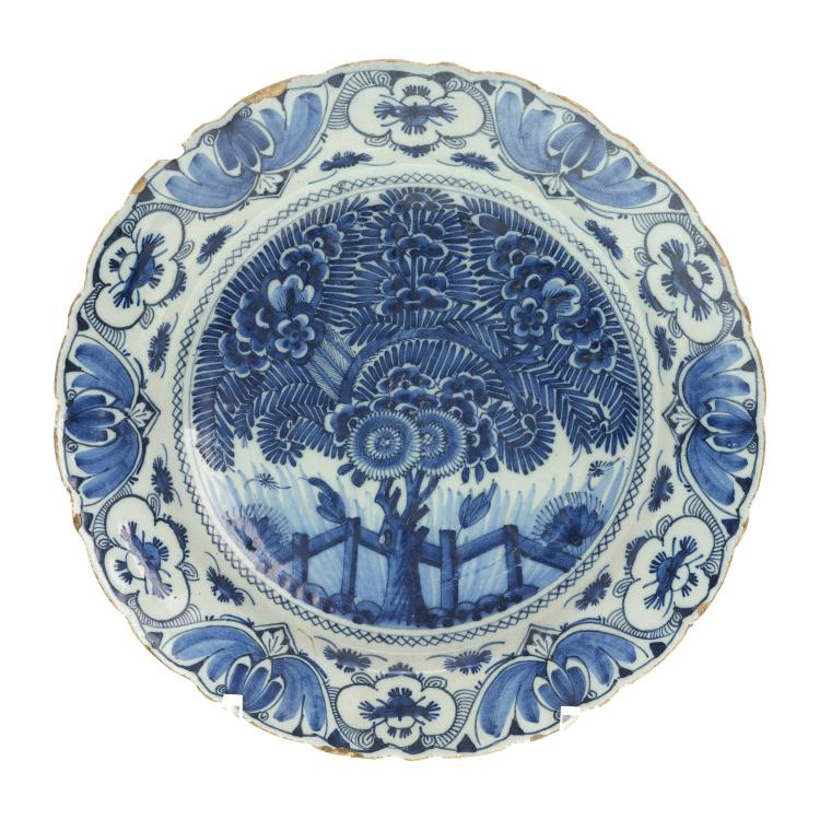 Delft blue and white pottery charger, signed